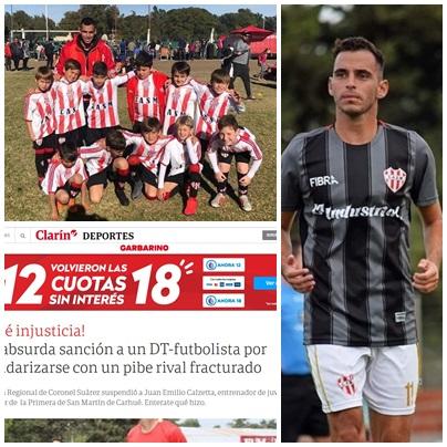 La Liga Regional de Futbol Suarense en Clarin cuestionada por la suspensión del técnico de las inferiores de San Martin de Carhüé