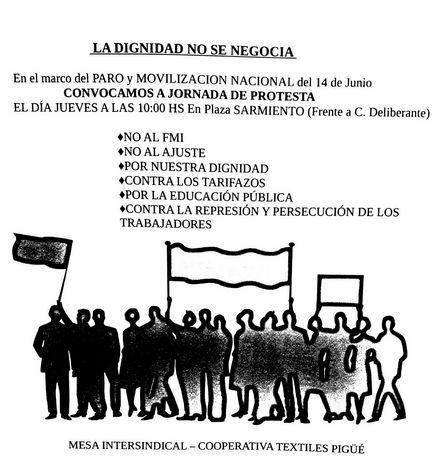 Acto de protesta en Pigüé convocado por Suteba, Coop.Textiles Pigüé y Mesa Intersindical en el marco del paro de las  dos CTA