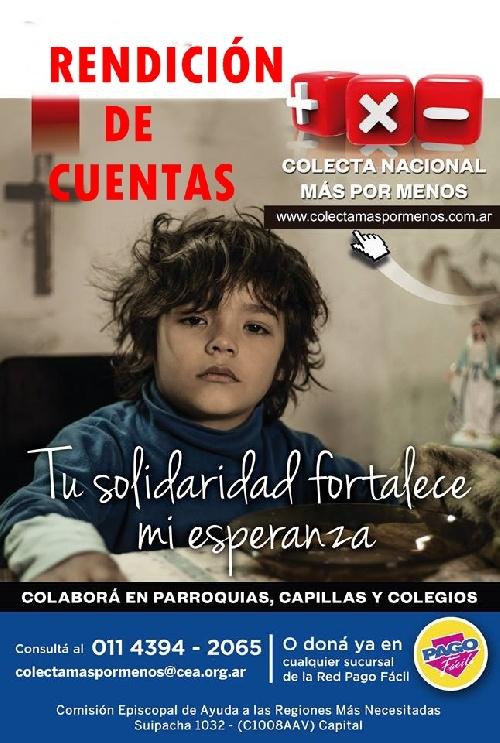 COLECTA NACIONAL Más Por menos - Conferencia Episcopal Argentina - Rendición de Cuentas