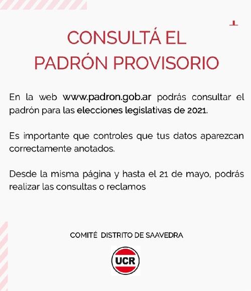 CONSULTAS AL PADRON PROVISORIO: LOS RECLAMOS SE PUEDEN HACER HASTA EL 21 DEL CORRIENTE MES DE MAYO