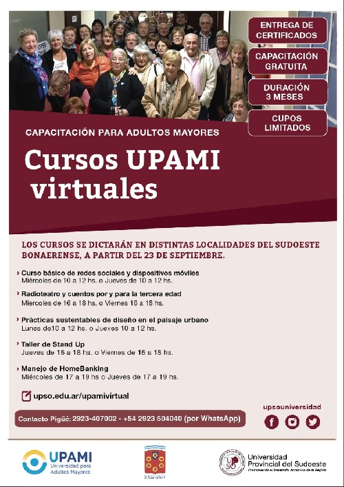 CAPACITACIÓN  VIRTUAL PÀRA ADULTOS MAYORES EN LA UPSO POR CONVENIO CON PAMI