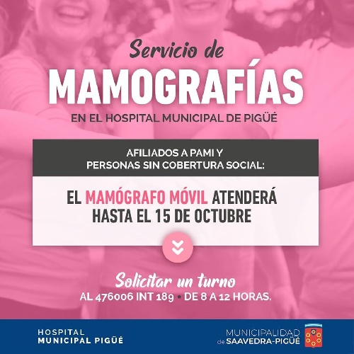 Hospital Municipal de Pigüé:  turnos para mamografías