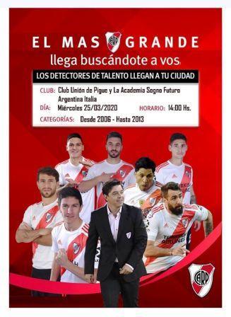 River Plate detectará talentos en Unión Pigüé proximamente.