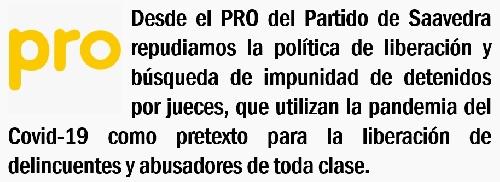 EL PRO DISTRITAL REPUDIA LA LIBERACIÓN  DE PRESOS