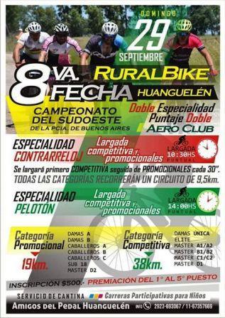 Rural Bike - La 8va fecha del Campeonato del SudOeste se corre en Huanguelen.