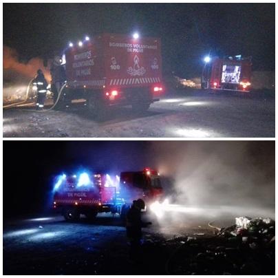 Pigüé: Los Bomberos debieron trabajar arduamente en el incendio de la Planta de Reciclado