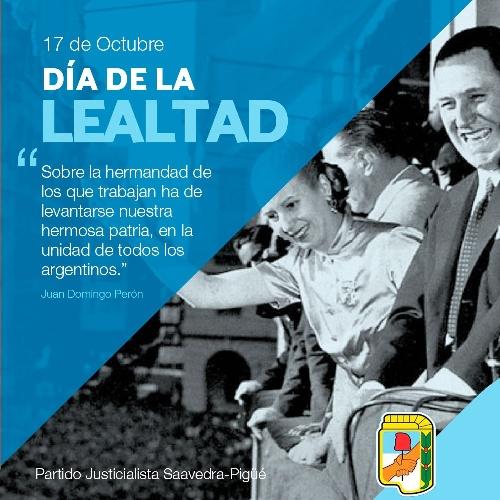 Hugo Corvatta:En este 17 de Octubre, saludo a todos los compañeros y simpatizantes.