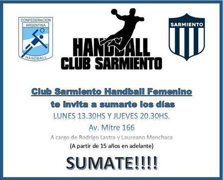 Handball Femenino - Sarmiento incorpora jugadoras para la práctica de este deporte.