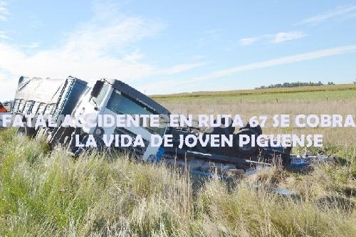 Fatal  accidente en  la ruta 67 en cercania de la rotonda de acceso a Pigüé