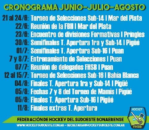 Hockey Femenino - Cronograma de actividades en nuestra región.